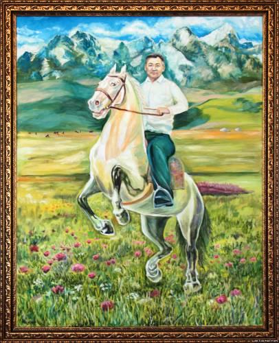 Портрет Мужчины на коне. Алматы.