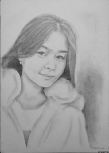 Портрет девочки карандашом. Алматы.